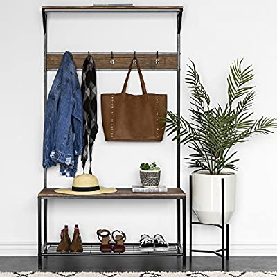 Best Choice Products 71x39in 3-Tier Entryway Coat Shoe Rack Bench Hall Tree Storage Organizer Accent Furniture w/ 5 Hooks, Metal Frame - Brown - 3-shelf hall tree provides additional home storage space while accenting the look of your hall Give space for your winter coats, sweaters, umbrellas and other hangable items with the 5 hooks Sturdy bottom rack makes storing children's toys, books, and miscellaneous storage items a breeze - hall-trees, entryway-furniture-decor, entryway-laundry-room - 51A7Ks6miuL. SS400  -