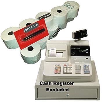Rollos y tinta de EPOSBITS® para máquinas registradoras Casio CE-2300 CE2300 (10 rollos, 1 tinta): Amazon.es: Oficina y papelería