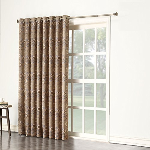 Sun Zero Celestia Energy Efficient Patio Door Curtain Panel, 100″ x 84″, Taupe Brown