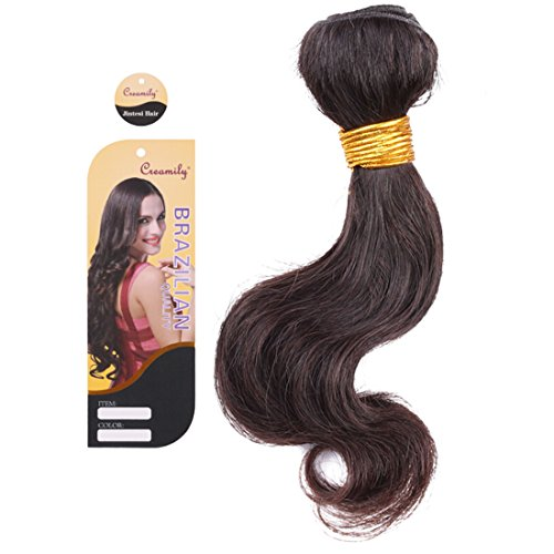 "CreamilyTM 7A Quality 100% Brazilian Remy Virgin Human Hair Weave Weft Extensions Bundles 3.5oz/Piece 8"" Brazilian Natural Black"