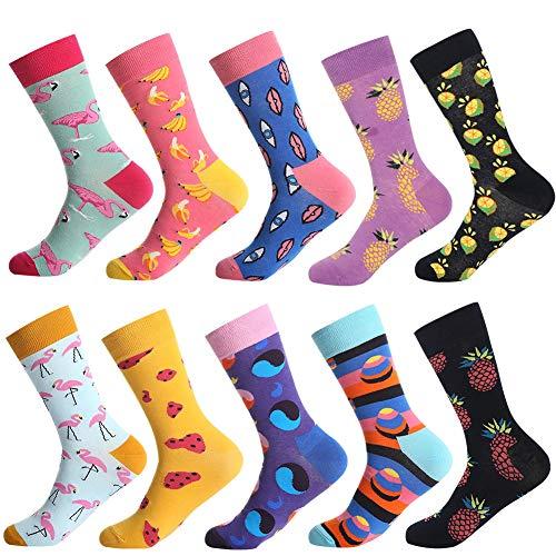 Bonangel Men's Fun Dress Socks - Colorful Funny Novelty Crazy Crew Socks Packs with Cool Argyle Pattern (Fan Socks)