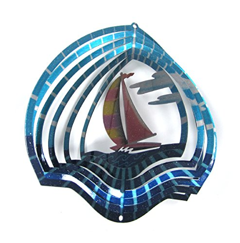 Boat Metal Sculpture (Shipityourway 3D Wind Spinner Sailboat Whirligig Twister with Swivel (6.5