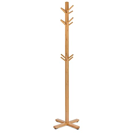 HOMFA Perchero de bambú de Pie Perchero de árbol Perchero de madera con 12 Ganchos para pasillo o dormitorio Alta Calidad Base Dura 177x45cm