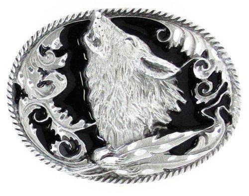 Pewter Belt Buckle - Howling Wolf (Diamond Cut) (Buckle Mens Pewter Belt)