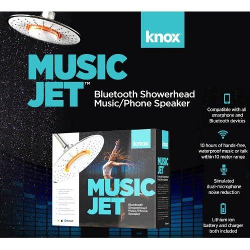 Knox Showerhead & (Waterproof) Music Jet Bluetooth Wireless Music/Phone Speaker (with White Rim) low-cost