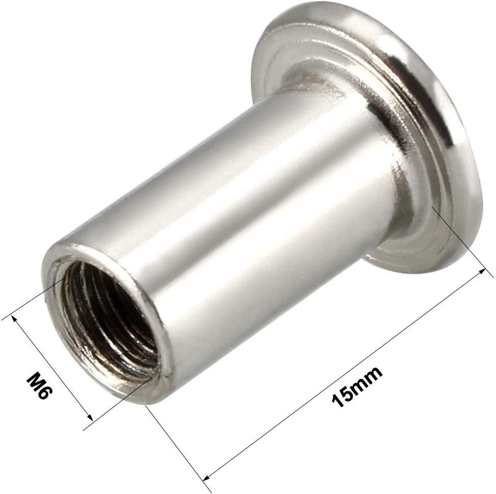 uxcell M6x15mm Rivet Hex Socket Head Insert Nut Screw Post Nickel Plated 30pcs