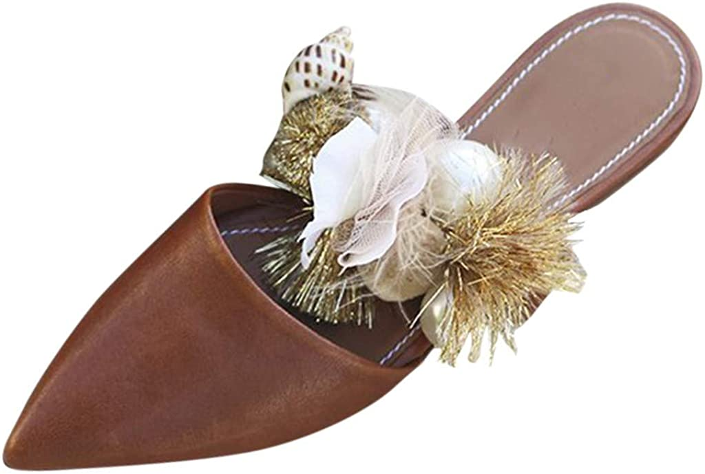 Corriee Womens Closed Toe Slip On Mules Shoes Bohemian Pointed Toe Sandals Summer Flats Office Wedding Party Shoes