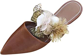 Corriee Womens Closed Toe Slip On Mules Shoes Bohemian Pointed Toe Sandals Summer Flats Office Wedding Party Shoes Brown