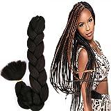 Top Selling Super Braid Advanced Kanekalon Fibers Bulk Hair Easy to Grab Braid Twist Same Quality as X-pression Ultra Braid, Pack of 2, Color #1B Off Black