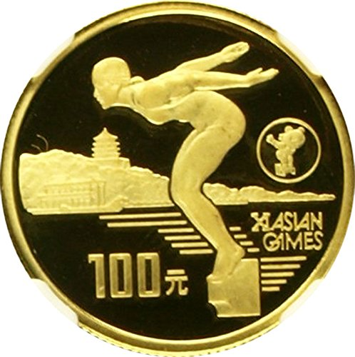 1990 Asian Games - 1990 CN 11th Asian Games Beijing 1990 China Gold 100 Yuan coin PF 68 Ultra Cameo NGC