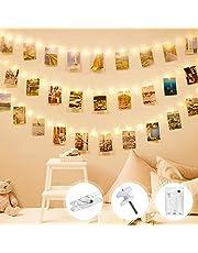 Łańcuch świetlny z klamerkami do zdjęć, Litogo na zdjęcia, łańcuch świetlny, obrazy 10 m, 100 diod LED, klipsy na zdjęcia, łańcuch świetlny na ścianę wewnętrzną, bateria, 60 klipsów, łańcuch świetlny do pokoju, pokoju dziecięcego, salonu, dekoracja ciepła biel
