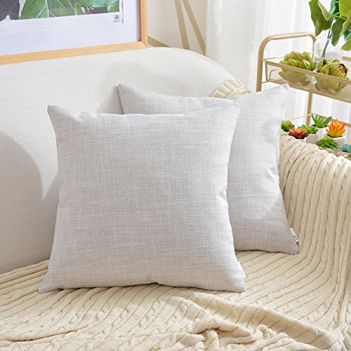 Cushions Beige (NATUS WEAVER Slub Lined Linen Throw Pillow Cover Decorative Accent Cushion Covers Square Pillowcase for Bed, 20 x 20 inch, Beige, 2 Pieces)