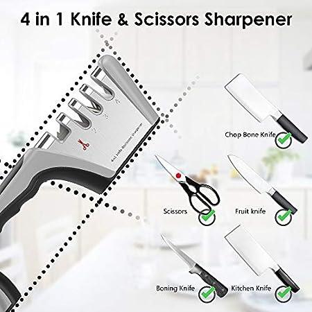 WD&CD Afilador de Cuchillos de Cocina, 4 en 1 Knife Sharpener para Afilar Cuchillos, Tijeras, Navajas, Cuchillos Jamoneros