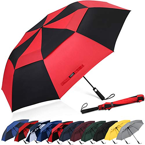 G4Free 62inch Portable Golf Umbrella Automatic Open Large Oversize Vented Double Canopy Windproof Waterproof Sport Umbrellas(Black/Red)