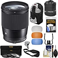 Sigma 16mm f/1.4 Contemporary DC DN Lens 3 UV/CPL/ND8 Filters + Backpack + Lens Pouch + Strap + Pop-up Flash Diffusers + Kit Sony Alpha E-Mount Cameras