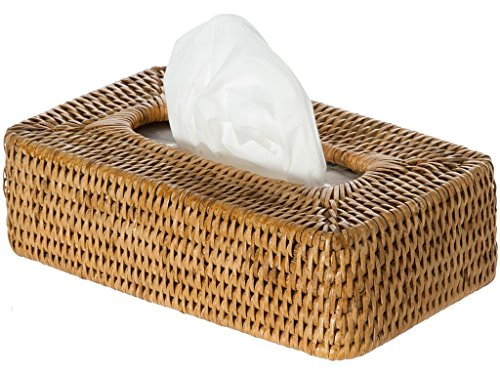 Kouboo La Jolla Rattan Rectangular, Honey Brown Tissue Box Cover