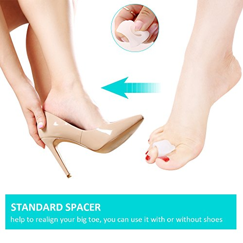 Bunion Corrector Splint Relief Kit - Orthopedic Bunion Pads Toe Separators Spacers Straighteners for Tailors Bunion Hallux Valgus Big Joint Hammer Toe Women and Men (4 Pairs) by INCOK (Image #5)