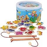 YIRAN Wooden Kids Puzzles Board Magnetic Fishing Games Set 14 Ocean Animals 2 Poles