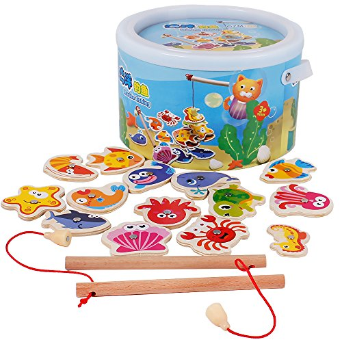 Wooden Kids Puzzles Board Magnetic Fishing Games Set with 14 Ocean Animals and 2 Poles
