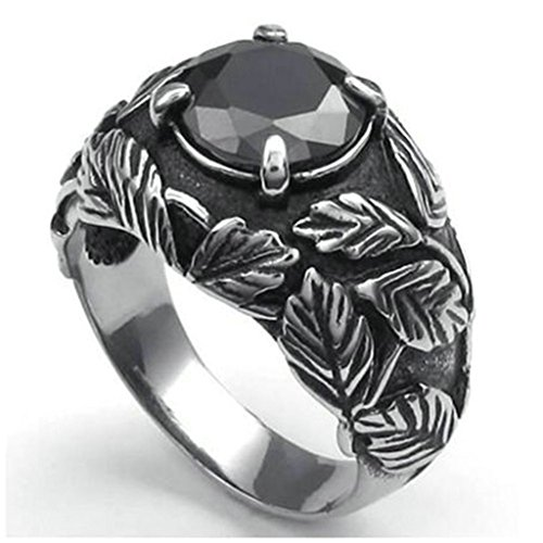 [Stainless Steel Ring for Men, Leaf Ring Gothic Black Band 16MM Size 8 Epinki] (Angel Wings Costume Malaysia)
