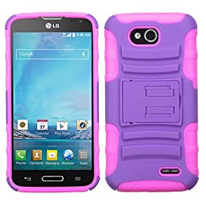 Purple/Electric Pink Armor Stand Hybrid Case Cover For LG D415(Optimus L90) ASMYNA