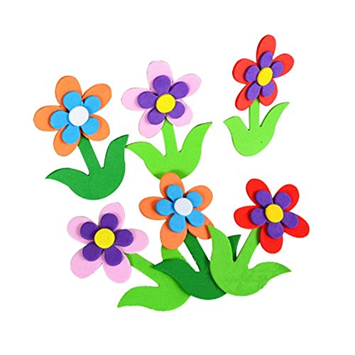 4 PCS 3D Design Multi-Color Flowers Kids Room Decorate Material by Koala Superstore
