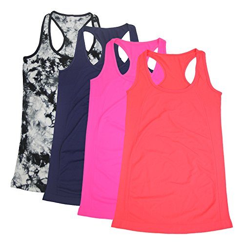 Candy Womens Pink T-shirt (Semath Womens Lady Sleeveless Round-Neck Candy Vest Loose Tank Tops T-shirt,4 Pack/Rosered/Shocking Pink/Dark Blue/Blackwhite,X-Large)