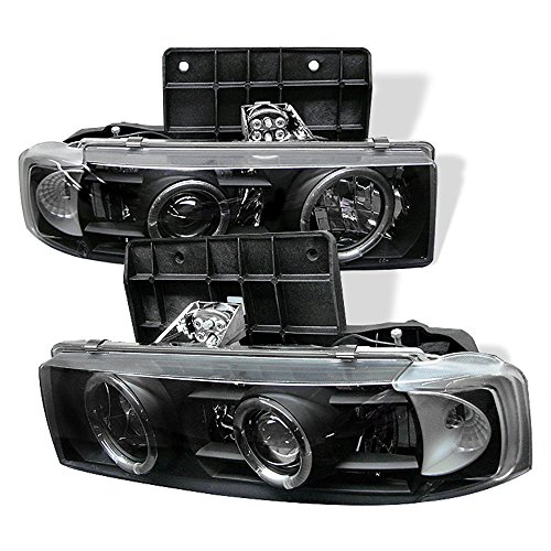 Chevy Astro Halo Headlights - [For 1995-2005 Chvy Astro GMC Safari] LED Halo Ring Black Projector Headlight Headlamp Assembly, Driver & Passenger Side