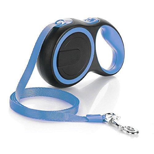 Retractable Dog Leash, Nylon Retractable Dog Leash,One Button Brake & Lock,Retracts 0-16ft,Hand Grip,No-slip Grip (50lbs, Blue) by Garsum
