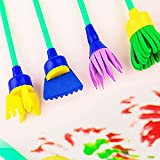 HuaYang Early Learning Mini Flower Sponge Painting Brushes Sago Brothers Craft Brushes Set for Kids 4Pcs/set