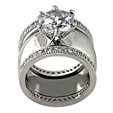Wide Solitaire Round-shape 4.28 Ct. Cubic Zirconia Cz Bridal Wedding 3 Pc. Ring Set with Eternity Bands (Center Stone Is 2.75 Cts.)