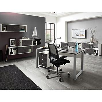 Komplett Büromöbel Set ● weiß Basalto dunkel &#x25CF ...