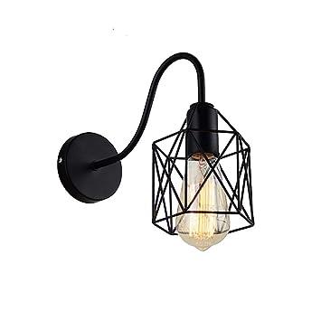 Lámpara de pared retro industrial, jaula de pájaros de metal ...