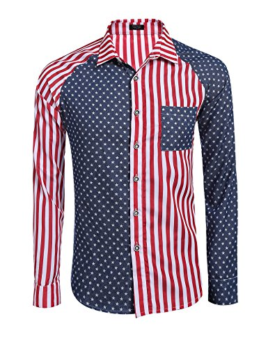 COOFANDY Men's Cotton Long Sleeve America Striped Pocket Casual Button Down Dress Shirt,Red,XX-Large (Clothing America)