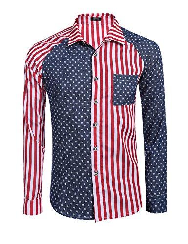 Coofandy Men's Christmas USA Flag Shirts America Casual Button Down Dress Shirt, Red, - Flag Shirt America