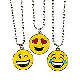 3 Pack of Emoticon NECKLACE - Assorted Smiley Emoticon 16 inch Necklaces