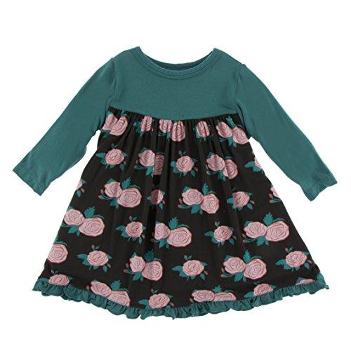 Kickee Pants Little Girls Print Classic Long Sleeve Swing Dress, English Rose Garden, Small