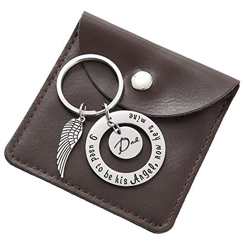Fathers Day Gifts Keychain for Dad - Angel Wings Guardian Keychain Charm Men ()