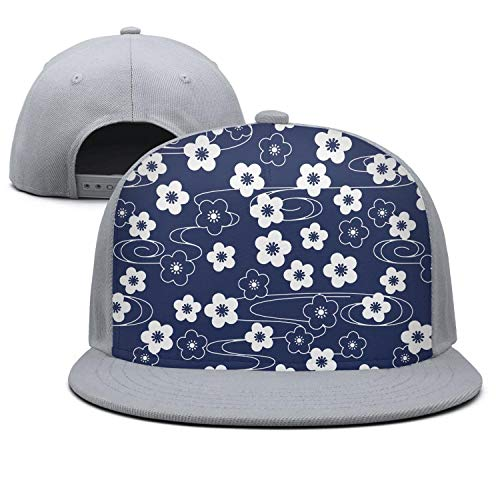 HONGMING Unisex Adjustable Flat Baseball Hats Blue Sakura Kimono Pattern Floating with Wind Trucker Cap