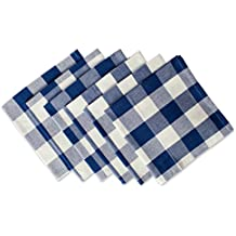 """DII Cotton Buffalo Check Oversized Basic Cloth Napkin for Everyday Place Settings, Farmhouse Décor, Family Dinners, BBQ's, and Holidays (20x20"""", Set of 6) Navy & Cream"""