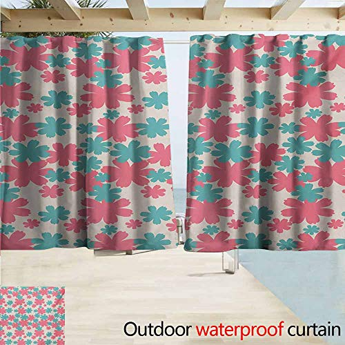 AndyTours Doorway Curtain,Garden Big Bold Growing Flowers Burst Lush Grand Forest Plants Pastel Colored Artwork,Rod Pocket Curtain Panels,W72x72L Inches,Teal Pink White ()