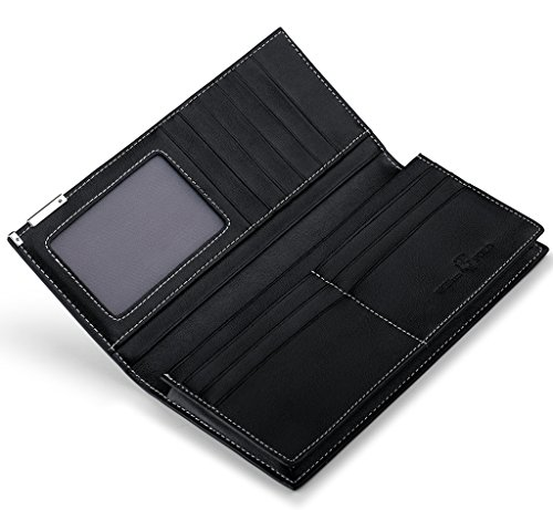 b0421f66e2 William POLO Men s Genuine Leather Bifold Long Purse Business Clutch Bag  Mens Billfold Wallet ID Credit Card Holder Money Clip POLO111 Black at  Amazon Men s ...