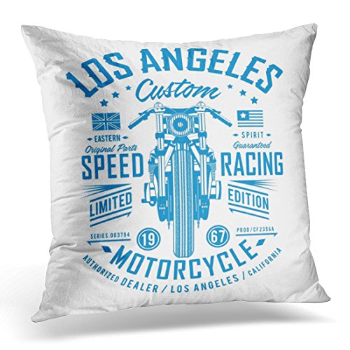 TOMKEYS Throw Pillow Cover Blue Accessories Motorcycle Speed Racing Graphics America Badge Decorative Pillow Case Home Decor Square 18x18 Inches Pillowcase (Raceway Tee Cover)