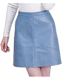 Women's Leather Skirt PU Faux High Waist Back Zipper Pockets
