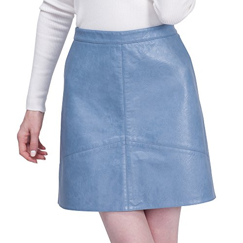 BELLA PHILOSOPHY Women's Leather Skirt PU Faux High Waist Pockets (Belle Leather)