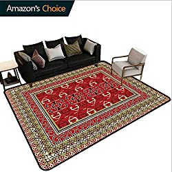 Bigdatastore Turkish Pattern Sports Area Rug Pad, Rectangular Frames and Abstract Shapes with Ottoman Origins, Durable Carpet Area Rug - Living Dinning Room Bedroom Rugs and Carpets(4'x 6')