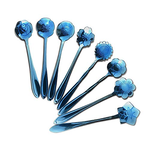 Blue Flower Set - Initial heart Flower Spoon Set 8 Pcs Blue Flower Stainless Steel Spoons Set Reusable Coffee Spoons Tea Spoons Table Spoons Sugar Dessert Cake Spoons (Blue)