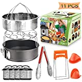 Pressure Cooker Accessories Set 11-Piece Fit 5, 6, 8 Qt Instant Pot Accessories with Steamer Basket, Egg Rack, Springform Pan, Food Tong, Oven Mitts, Magnetic Cheat Sheets by JONYJ