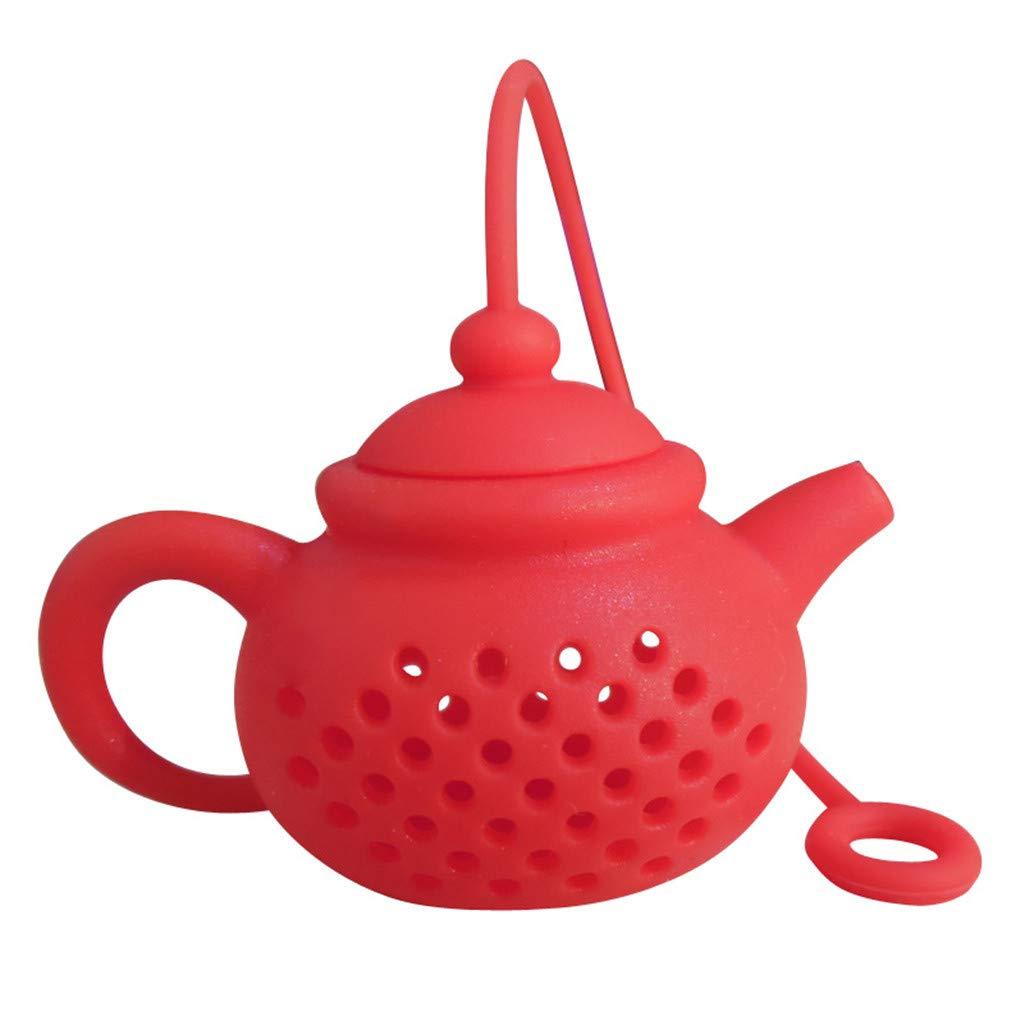 Rouge Wokee Th/éi/ère Design Silicone th/é Infuser passoire-Rouge et Vert//Convient pour Une Utilisation dans la th/éi/ère Tasse /à th/é et Plus-Un Merveilleux Cadeau pour Un Buveur de th/é