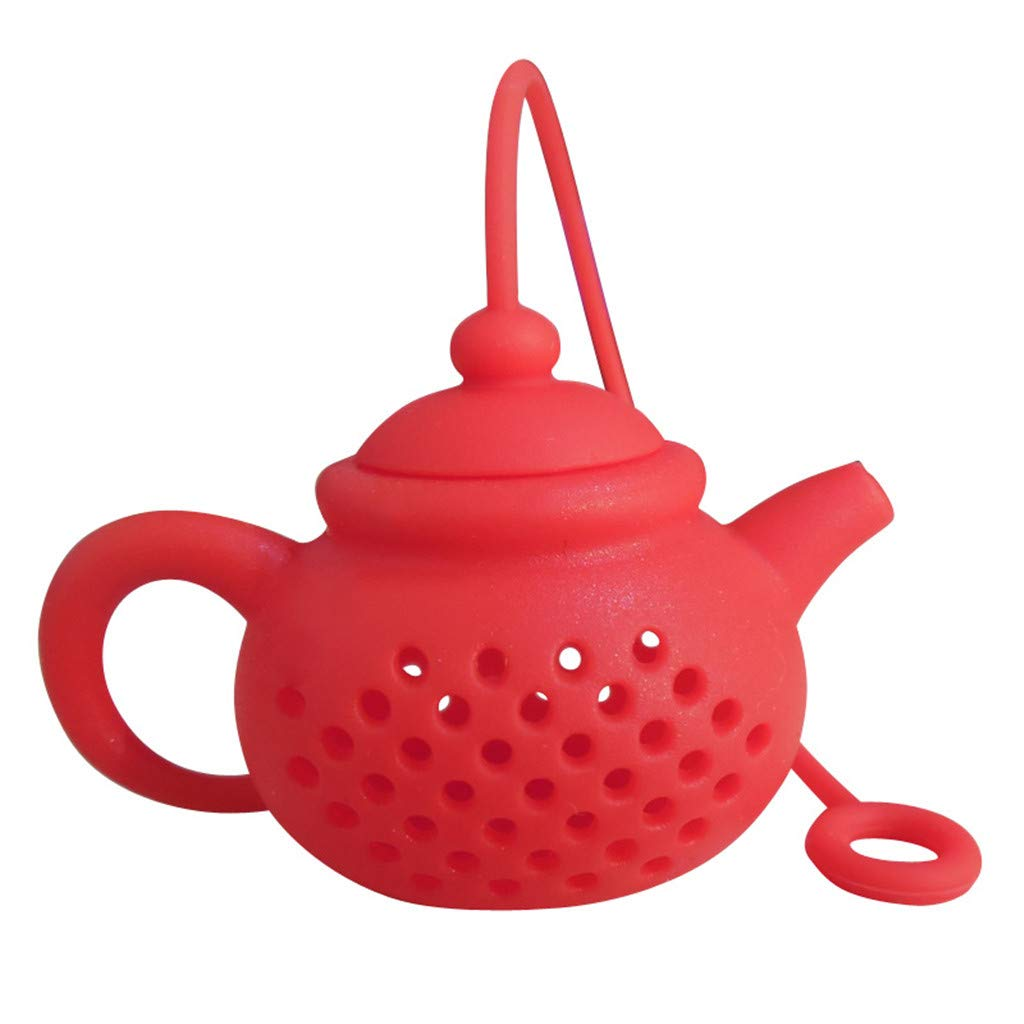 Huangou ❤ Tea Brew Kit ❤ Details About Tea Infuser Strainer Silicone Tea Bag Leaf Filter Diffuser (Red, Free)